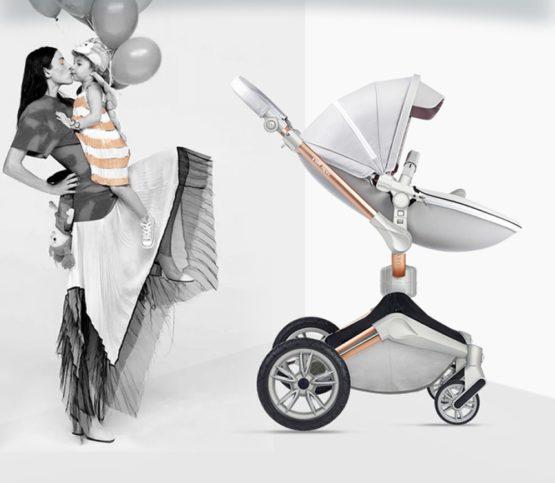Hot Mom® Baby Pram – 2 in 1 Bassinet + Pram Set – Grey