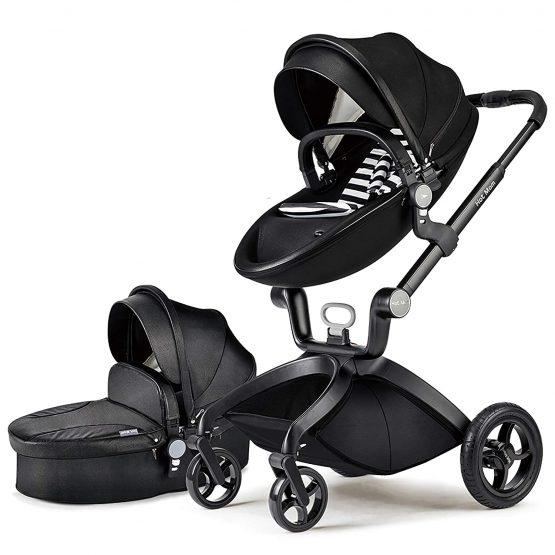 Hot Mom® Baby Pram Black –  2 in 1 Bassinet + Pram Set