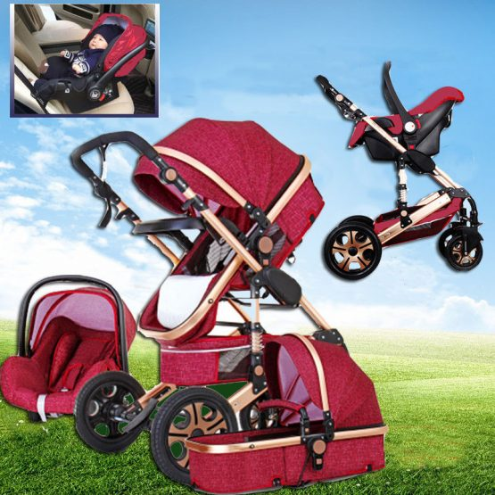 3 In 1 Baby Stroller High View Pram Foldable Pushchair Bassinet & Car Seat