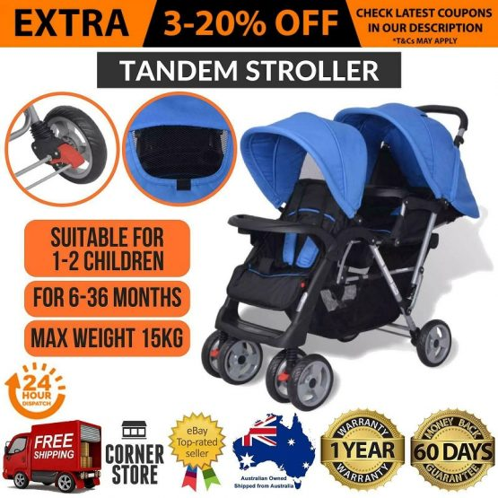 Foldbable Double Stroller black with blue canopies