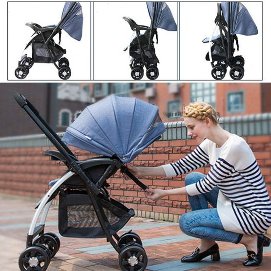 Baby push chair with canopy, storage basket