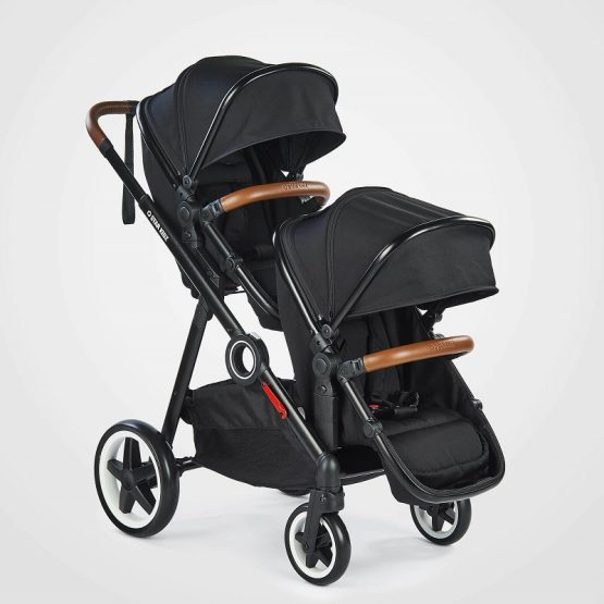 Double inline stroller with 2 seats
