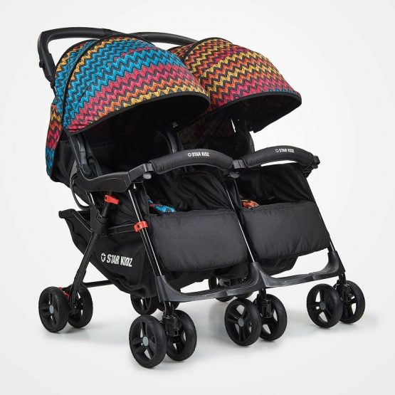 Black double stroller, colourful canopies
