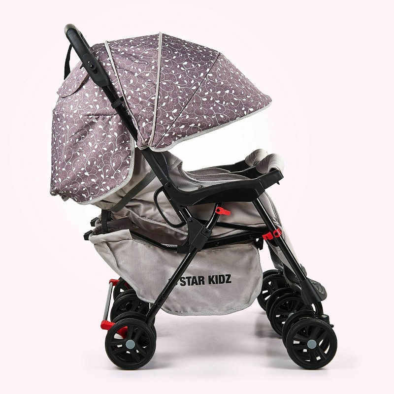 Double stroller, easy to fold, silver leaves - Baby Prams ...