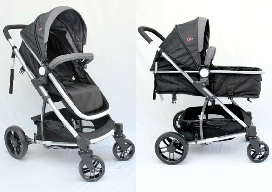 Compact sturdy 2 in 1 stroller with 3 wheels
