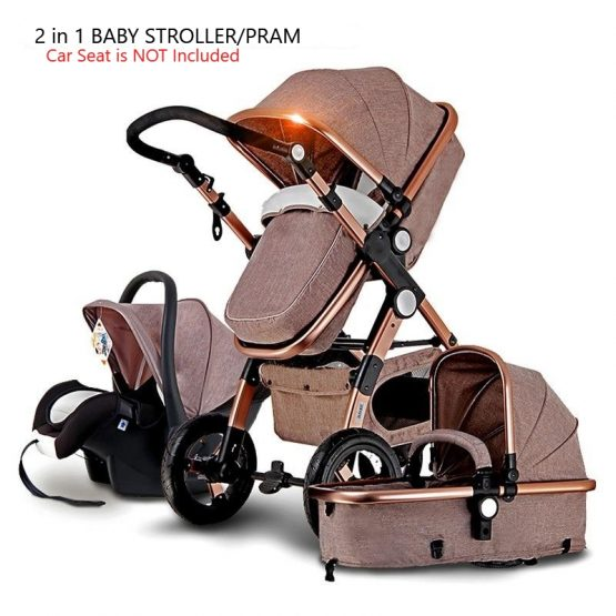 Cuteably® Baby Pram – 2 in 1 Bassinet Pram Set – Khaki (Car Seat Not Included)