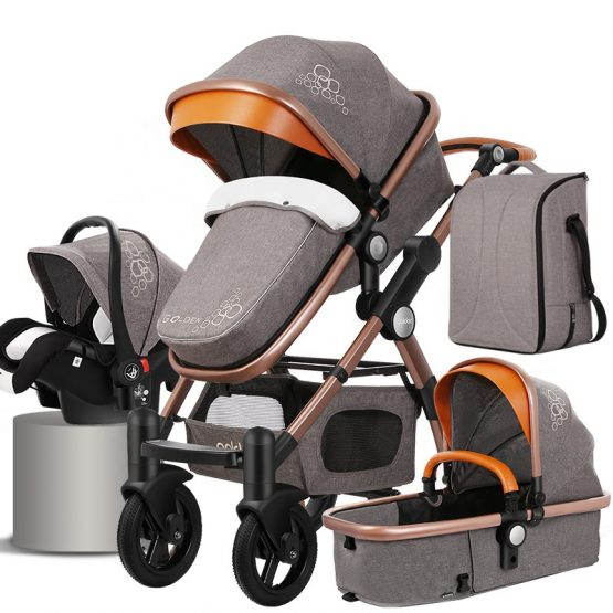 Cuteably® Baby Pram – 3 in 1 Bassinet + Pram Set – Gray