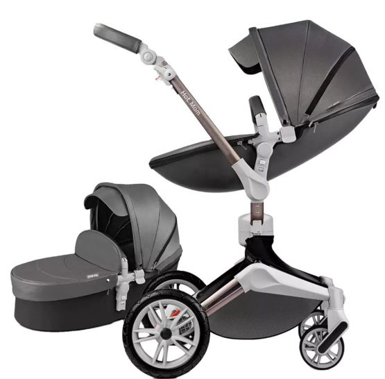 Hot Mom® Baby Pram – 7 In 1 360 Degree Bassinet + Pram Set Dark Grey