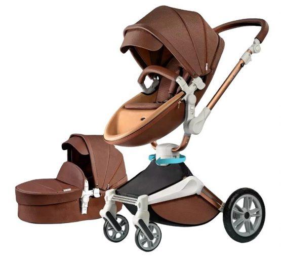 Hot Mom® Baby Pram – 7 In 1 360 Degree Bassinet + Pram Set – Coffee